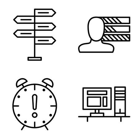 decision making: Set Of Project Management Icons On Decision Making, Personality And Deadline. Project Management Vector Icons For App, Web, Mobile And Infographics Design. Illustration