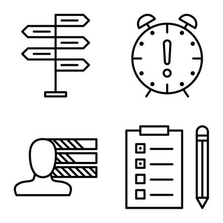 personality development: Set Of Project Management Icons On Decision Making, Personality And Deadline. Project Management Vector Icons For App, Web, Mobile And Infographics Design. Illustration