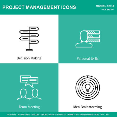 personality development: Set Of Project Management Icons On Decision Making, Personality And Idea Brainstorming. Project Management Icons Can Be Used For Web, Mobile And Infographics Design. Vector Illustration, Eps10. Illustration