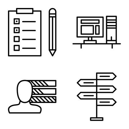 task list: Set Of Project Management Icons On Decision Making, Personality And Task List. Project Management Vector Icons For App, Web, Mobile And Infographics Design. Illustration