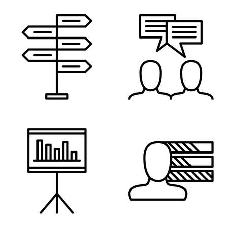 personality development: Set Of Project Management Icons On Decision Making, Personality And Idea Brainstorming. Project Management Vector Icons For App, Web, Mobile And Infographics Design.