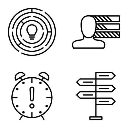decision making: Set Of Project Management Icons On Decision Making, Personality And Creativity. Project Management Vector Icons For App, Web, Mobile And Infographics Design.