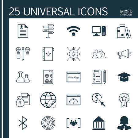 Set Of 25 Universal Icons On Warranty, Graduation, Library And More Topics. Vector Icon Set Including Money, Library, PPC And Other Icons.