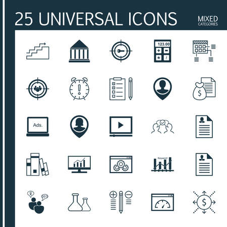 keyword: Set Of 25 Universal Icons On Schedule, Keyword Optimisation, Money And More Topics. Vector Icon Set Including Digital Media, Website Performance, Keyword Marketing And Other Icons. Illustration