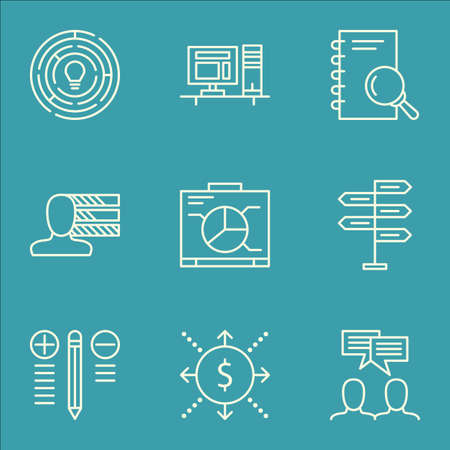 engineering icon: Set Of Project Management Icons On Personal Skills, Innovation, Computer And More. Includes Personal Skills, Opportunity, Discussion And Other Vector Icons.