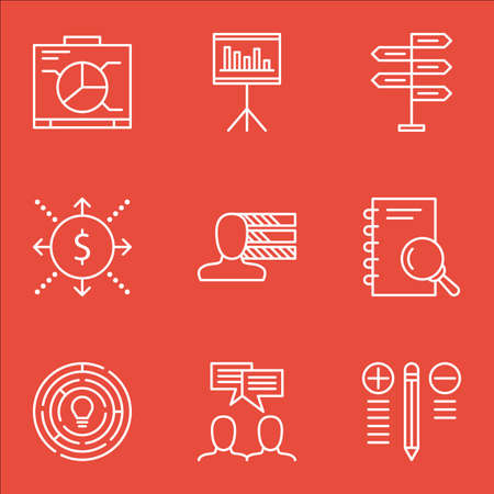 personal decisions: Set Of Project Management Icons On Discussion, Money, Innovation And More. Includes Analysis, Discussion, Personal Skills And Other Vector Icons. Illustration