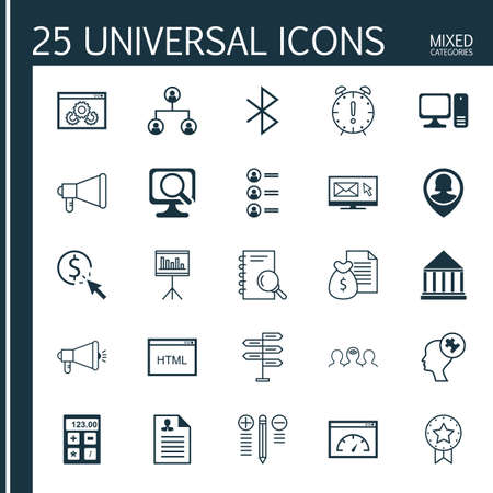 bluetooth: Set Of 25 Universal Icons On Newsletter, Bluetooth Symbol, Computer And More Topics. Vector Icon Set Including Website Performance, Human Mind, Financial And Other Icons.