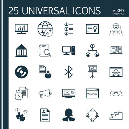 bluetooth: Set Of 25 Universal Icons On Curriculum Vitae, Collaboration, Job Applicants And More Topics. Vector Icon Set Including Website Performance, Report, Bluetooth Symbol And Other Icons.
