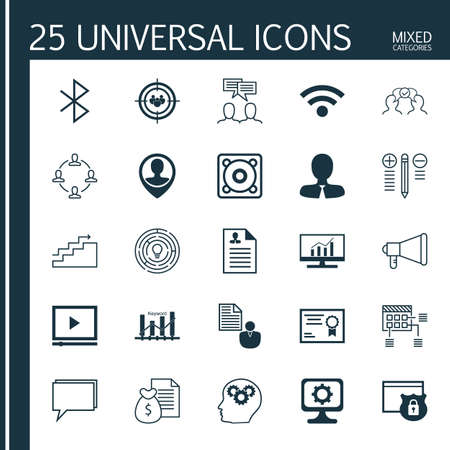 optimisation: Set Of 25 Universal Icons On Security, Keyword Optimisation, Manager And More Topics. Vector Icon Set Including Curriculum Vitae, Innovation, Music And Other Icons.