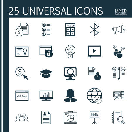 bluetooth: Set Of 25 Universal Icons On Job Applicants, Board, Bluetooth Symbol And More Topics. Vector Icon Set Including Bluetooth Symbol, Report, Certificate And Other Icons. Illustration