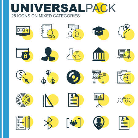 Set Of 25 Universal Icons On PPC, Discussion, Graduation And More Topics. Vector Icon Set Including Coaching, Tree Structure, Questionnaire And Other Icons.