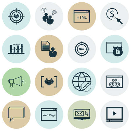 keyword: Set Of SEO, Marketing And Advertising Icons On Keyword Optimisation, Video Player, Connectivity And More. Includes Keyword Optimisation, Focus Group, Video Player And Other Vector Icons.
