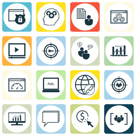 keyword research: Set Of SEO, Marketing And Advertising Icons On Digital Media, Market Research, Video Player And More. Includes Security, Connectivity, Keyword Marketing And Other Vector Icons. Illustration