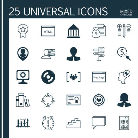personal decisions: Set Of 25 Universal Icons On Questionnaire, Time Management, Business Woman And More Topics. Vector Icon Set Including Present Badge, Focus Group, Blank Cd And Other Icons.