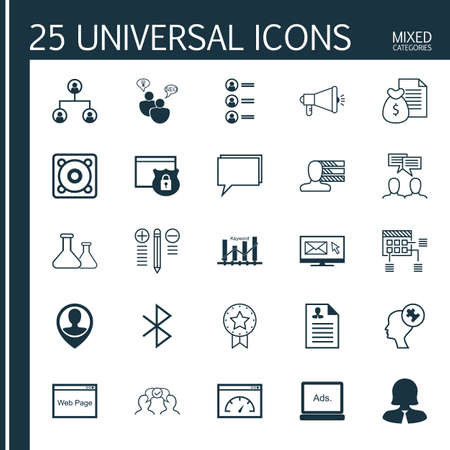 bluetooth: Set Of 25 Universal Icons On Media Campaign, Keyword Optimisation, Cooperation And More Topics. Vector Icon Set Including Chemical, Report, Bluetooth Symbol And Other Icons.