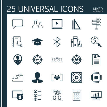 keyword research: Set Of 25 Universal Icons On Music, Keyword Marketing, Analysis And More Topics. Vector Icon Set Including Female Application, Market Research, Conference And Other Icons.