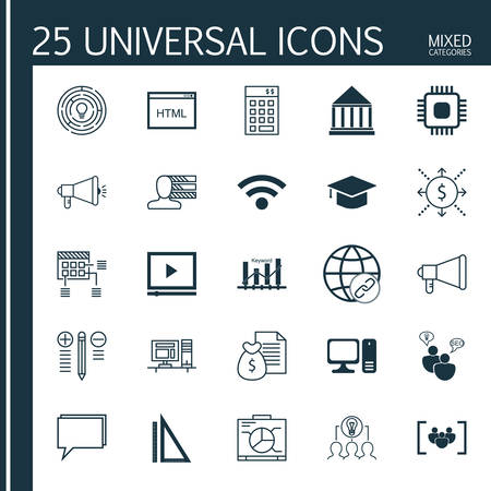 keyword: Set Of 25 Universal Icons On Coding, Keyword Optimisation, Report And More Topics. Vector Icon Set Including Computer, Money, Video Player And Other Icons.