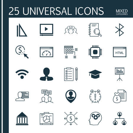 bluetooth: Set Of 25 Universal Icons On Cooperation, Money, Graduation And More Topics. Vector Icon Set Including Bluetooth Symbol, Chip, Employee Location And Other Icons.