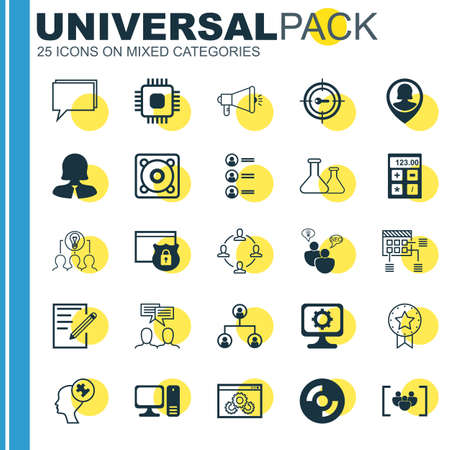 collaborative: Set Of 25 Universal Icons On Pin Employee, Chip, Collaborative Solution And More Topics. Vector Icon Set Including Chip, Financial, Tree Structure And Other Icons.