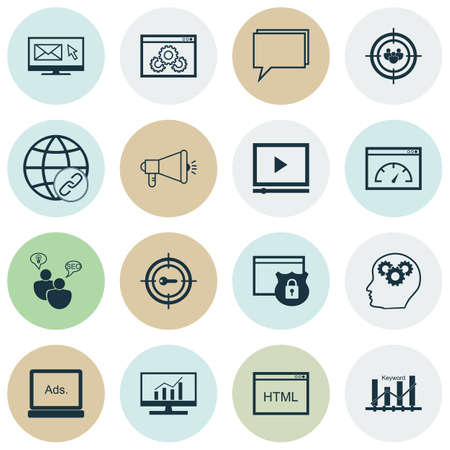 keyword: Set Of SEO, Marketing And Advertising Icons On Keyword Optimisation, Connectivity, Security And More. Includes Loading Speed, Keyword Marketing, SEO Brainstorm And Other Vector Icons.