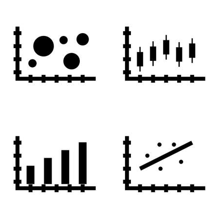 scatter: Set Of Statistics Icons On Scatter Chart, Bubble Chart, Bar Chart And More. Premium Quality Eps10 Vector Illustration For Mobile, App, Ui Design.
