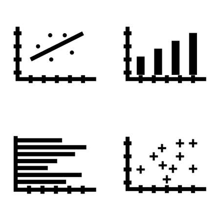 scatter: Set Of Statistics Icons On Bar Chart, Scatter Chart, Horizontal Bar Chart And More. Premium Quality Eps10 Vector Illustration For Mobile, App, Ui Design.