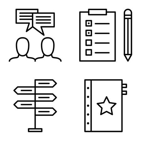task list: Set Of Project Management Icons On Decision Making, Idea Brainstorming And Task List. Project Management Vector Icons For App, Web, Mobile And Infographics Design.