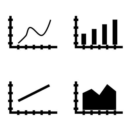curved line: Set Of Statistics Icons On Bar Chart, Line Chart And Curved Line. Statistics Vector Icons For App, Web, Mobile And Infographics Design.
