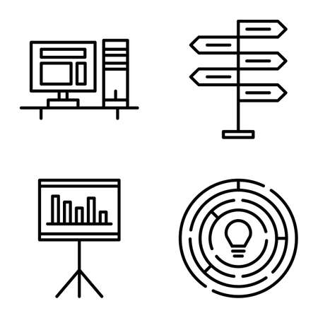 decision making: Set Of Project Management Icons On Decision Making, Creativity And Statistics. Project Management Vector Icons For App, Web, Mobile And Infographics Design.