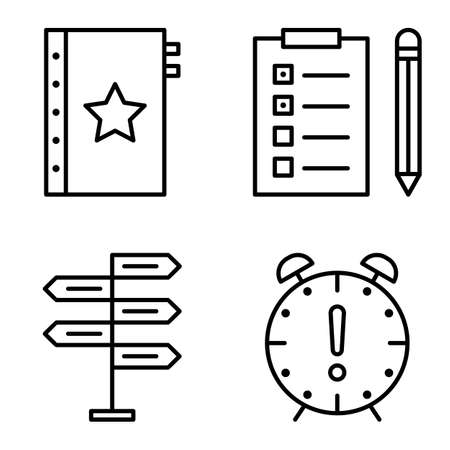 task list: Set Of Project Management Icons On Decision Making, Deadline And Task List. Project Management Vector Icons For App, Web, Mobile And Infographics Design.