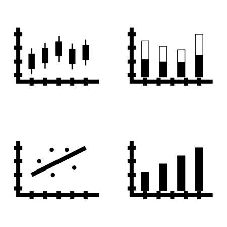 scatter: Set Of Statistics Icons On Bar Chart, Candles Chart, Scatter Chart And More. Premium Quality Eps10 Vector Illustration For Mobile, App, Ui Design.