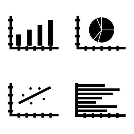 scatter: Set Of Statistics Icons On Pie Chart, Bar Chart, Scatter Chart And More. Premium Quality Eps10 Vector Illustration For Mobile, App, Ui Design.