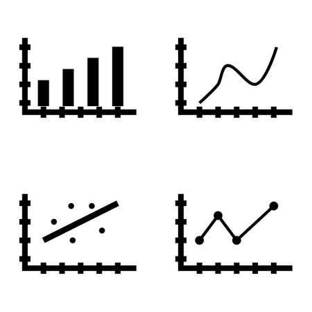 scatter: Set Of Statistics Icons On Curved Line, Bar Chart, Scatter Chart And More. Premium Quality Eps10 Vector Illustration For Mobile, App, Ui Design. Illustration