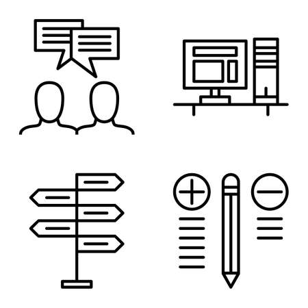 decision making: Set Of Project Management Icons On Decision Making, Idea Brainstorming And Best Solution. Project Management Vector Icons For App, Web, Mobile And Infographics Design. Illustration
