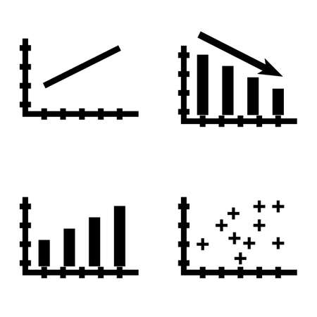 plotter: Set Of Statistics Icons On Bar Chart, Line Chart And Plotter Point Chart. Statistics Vector Icons For App, Web, Mobile And Infographics Design.