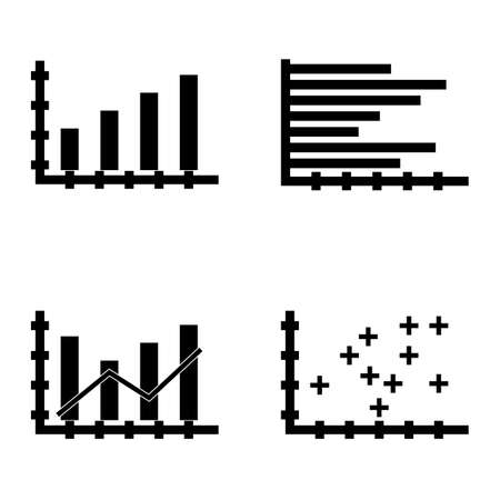 plotter: Set Of Statistics Icons On Plotter Point Chart, Bar Chart, Horizontal Bar Chart And More. Premium Quality Eps10 Vector Illustration For Mobile, App, Ui Design.
