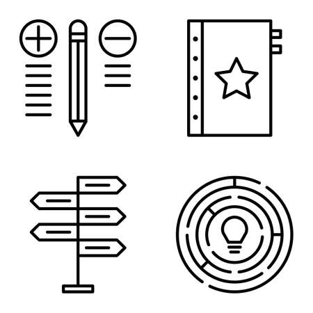 decision making: Set Of Project Management Icons On Decision Making, Creativity And Best Solution. Project Management Vector Icons For App, Web, Mobile And Infographics Design.