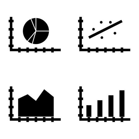 scatter: Set Of Statistics Icons On Scatter Chart, Bar Chart, Area Chart And More. Premium Quality Eps10 Vector Illustration For Mobile, App, Ui Design.