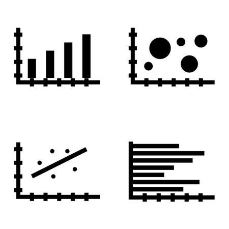 scatter: Set Of Statistics Icons On Horizontal Bar Chart, Bubble Chart, Scatter Chart And More. Premium Quality Eps10 Vector Illustration For Mobile, App, Ui Design. Illustration