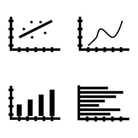 scatter: Set Of Statistics Icons On Scatter Chart, Horizontal Bar Chart, Bar Chart And More. Premium Quality Eps10 Vector Illustration For Mobile, App, Ui Design.