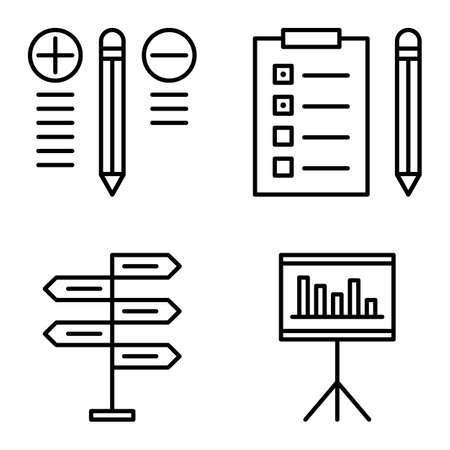 task list: Set Of Project Management Icons On Decision Making, Best Solution And Task List. Project Management Vector Icons For App, Web, Mobile And Infographics Design.