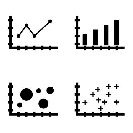plotter: Set Of Statistics Icons On Plotter Point Chart, Bar Chart, Pointed Line Chart And More. Premium Quality Eps10 Vector Illustration For Mobile, App, Ui Design. Illustration
