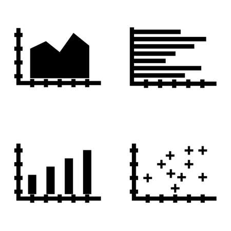plotter: Set Of Statistics Icons On Bar Chart, Plotter Point Chart, Area Chart And More. Premium Quality Eps10 Vector Illustration For Mobile, App, Ui Design.