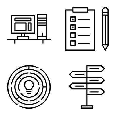 task list: Set Of Project Management Icons On Decision Making, Creativity And Task List. Project Management Vector Icons For App, Web, Mobile And Infographics Design.