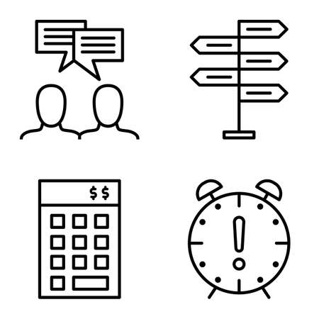 decision making: Set Of Project Management Icons On Decision Making, Idea Brainstorming And Deadline. Project Management Vector Icons For App, Web, Mobile And Infographics Design.