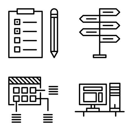 task list: Set Of Project Management Icons On Decision Making, Planning And Task List. Project Management Vector Icons For App, Web, Mobile And Infographics Design.