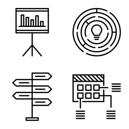 decision making: Set Of Project Management Icons On Decision Making, Creativity And Planning. Project Management Vector Icons For App, Web, Mobile And Infographics Design.