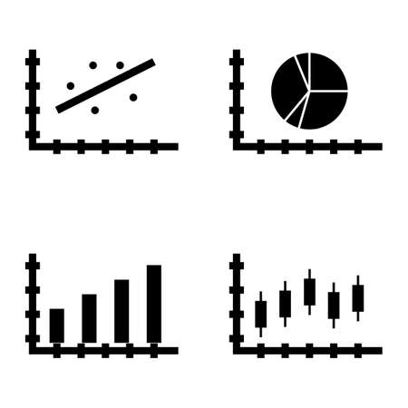 Set Of Statistics Icons On Bar Chart Scatter Chart Pie Chart
