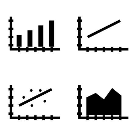 scatter: Set Of Statistics Icons On Bar Chart, Line Chart And Scatter Chart. Statistics Vector Icons For App, Web, Mobile And Infographics Design. Illustration