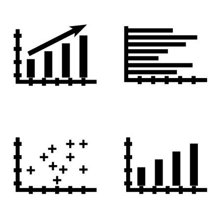 plotter: Set Of Statistics Icons On Plotter Point Chart, Statistics Growth, Horizontal Bar Chart And More. Premium Quality Eps10 Vector Illustration For Mobile, App, Ui Design.